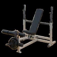 Body Solid Bench Press Combo GDIB46L Press de Banca Ajustable Plano Declinado Inclinado con Leg Curl uso Residencial Profesional y Comercial