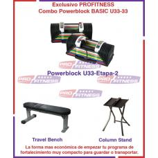 Combo Powerblock U33-2 Basic Incluye Stand, Travel Bench y DVD