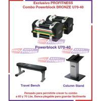 Combo Powerblock U70-40 Bronze Incluye Stand, Travel Bench y DVD