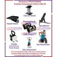 Combo Powerblock U90-50 GOLD Incluye Stand, Sportbench Chin y Dip Attachment handle y Kettleblock Platform