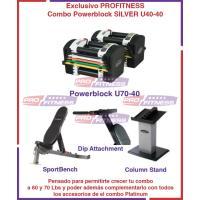 Combo Powerblock U70-40 SILVER Incluye Stand, Sportbench Dip Attachment