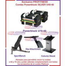 Combo Powerblock PRO 50 SILVER Incluye Stand, Sportbench Dip Attachment